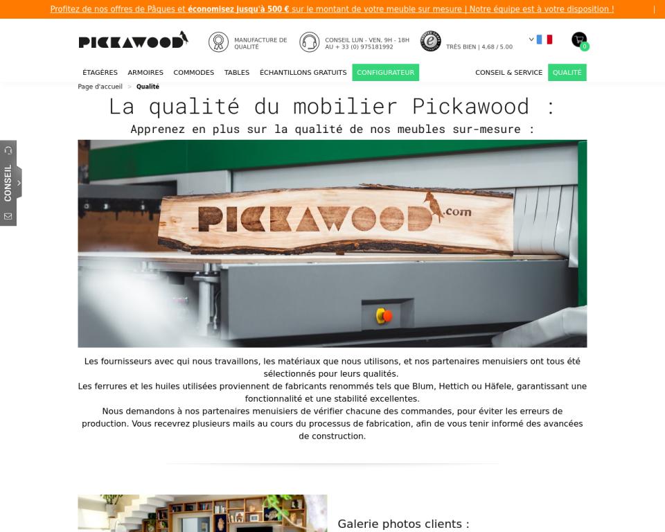 Découvrez la qualité des services & produits Pickawood !