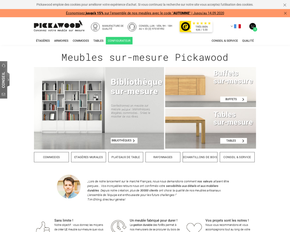 pickawood meuble sur mesure en ligne. Black Bedroom Furniture Sets. Home Design Ideas