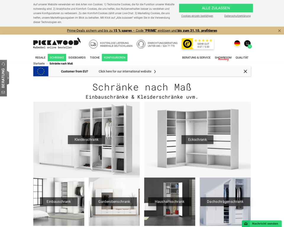 schr nke nach ma schrank konfigurieren und gestalten pickawood. Black Bedroom Furniture Sets. Home Design Ideas
