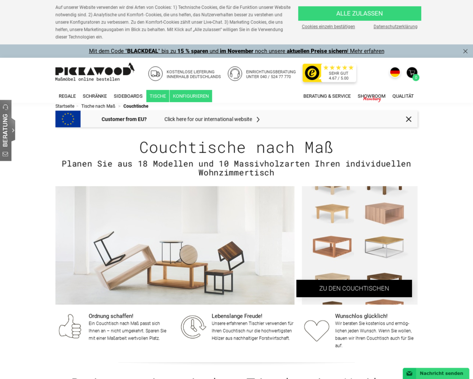 couchtische nach ma aus massivholz. Black Bedroom Furniture Sets. Home Design Ideas