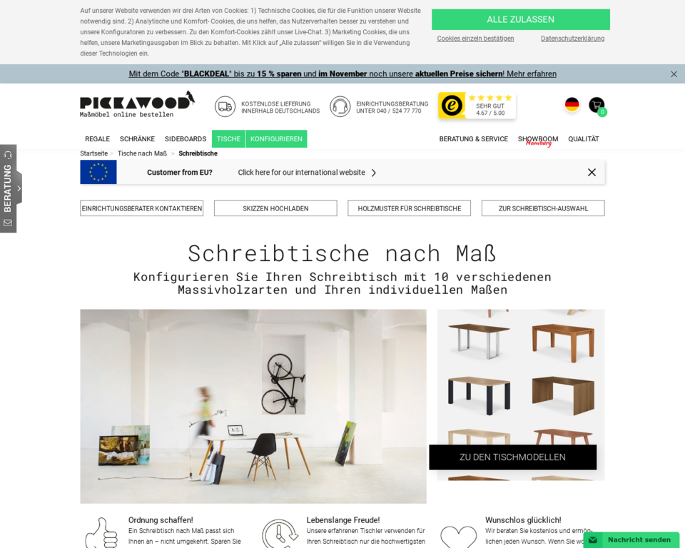 schreibtische nach ma aus massivholz konfigurieren. Black Bedroom Furniture Sets. Home Design Ideas