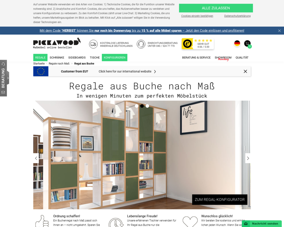 regale aus buche buchenholz regale nach ma g nstig. Black Bedroom Furniture Sets. Home Design Ideas